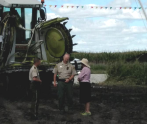 Cyndy Coppola blocking construction on her long-time family farmland taken by eminent domain.